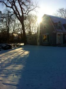 A typical day in January: snow and sun.