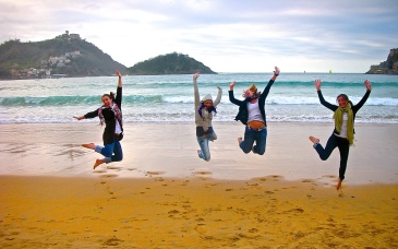 jumping for joy in san seb