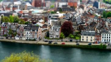 The bird's eye view of Namur, Belgium. City panorama.